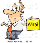 Vector of a Careless Cartoon Man Shrugging While Holding a Maybe Sign by Toonaday