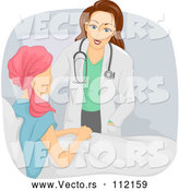 Vector of a Caring Cartoon Doctor Woman Visiting a Cancer Patient Woman in Bed by BNP Design Studio