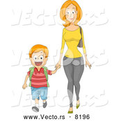 Vector of a Caring Cartoon Mom Holding Her Son's Hand While Walking to School by BNP Design Studio