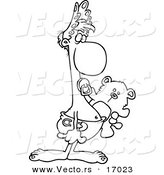 Vector of a Cartoon Adult Baby Carrying a Teddy Bear - Coloring Page Outline by Toonaday