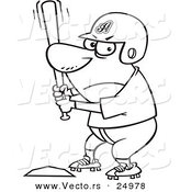 Vector of a Cartoon Aggressive Baseball Player Batting at Home Base - Outlined Coloring Page by Ron Leishman