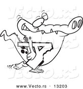 Vector of a Cartoon Alligator Carrying a Bitten Letter a - Coloring Page Outline by Toonaday