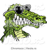 Vector of a Cartoon Alligator Gritting Teeth While Wearing Sunglasses by Chromaco
