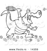 Vector of a Cartoon Alligator Playing Tennis - Coloring Page Outline by Toonaday