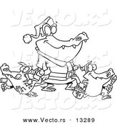 Vector of a Cartoon Alligator Santa with Little Gator Elves - Coloring Page Outline by Toonaday