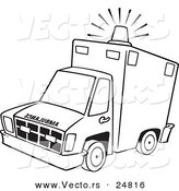 Vector of a Cartoon Ambulance with Lit Siren Light - Outlined Coloring Page by Toonaday