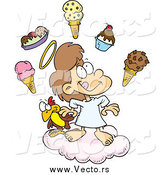 Vector of a Cartoon Angel Girl in Heaven with Ice Cream by Toonaday