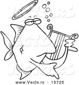 Vector of a Cartoon Angelfish Playing a Lyre - Coloring Page Outline by Toonaday