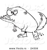 Vector of a Cartoon Angry Honey Badger - Outlined Coloring Page by Toonaday