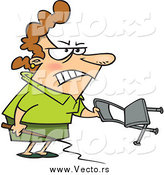 Vector of a Cartoon Angry White Businesswoman Holding a Whip and Chair by Ron Leishman