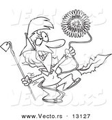 Vector of a Cartoon Angry Woman Pulling a Giant Dandelion Weed - Coloring Page Outline by Toonaday