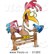 Vector of a Cartoon Annoying Rooster Using a Megaphone on a Fence by Toonaday