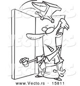 Vector of a Cartoon Anvil Falling on a Businessman in a Doorway - Outlined Coloring Page Drawing by Toonaday