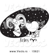 Vector of a Cartoon Aries Ram over a Black Starry Oval - Outlined Coloring Page Drawing by Toonaday