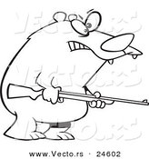 Vector of a Cartoon Armed Bear - Outlined Coloring Page by Toonaday