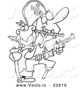 Vector of a Cartoon Armed Pirate - Coloring Page Outline by Ron Leishman