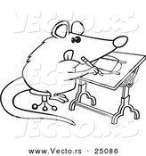 Vector of a Cartoon Artist Possum Drawing - Outlined Coloring Page by Toonaday