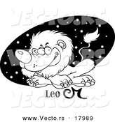 Vector of a Cartoon Astrology Leo Lion over a Black Starry Oval - Outlined Coloring Page by Toonaday
