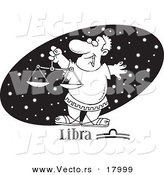 Vector of a Cartoon Astrology Libra Man over a Black Starry Oval - Outlined Coloring Page by Toonaday