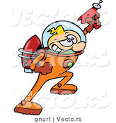 Vector of a Cartoon Astronaut Hero Shooting Super Ray Gun by Gnurf