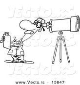 Vector of a Cartoon Astronomer Taking Notes and Peeking Through a Telescope - Outlined Coloring Page Drawing by Toonaday