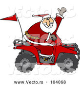 Vector of a Cartoon ATV Santa Waving Hello While Driving Fast by Djart