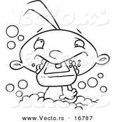 Vector of a Cartoon Baby Boy Eating Soap in the Bath Tub - Coloring Page Outline by Toonaday