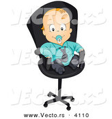 Vector of a Cartoon Baby Boy Sucking on Pacifier While Wearing a Suit and Sitting on an Office Chair by BNP Design Studio