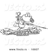 Vector of a Cartoon Baby Boy Water Skiing - Outlined Coloring Page Drawing by Toonaday