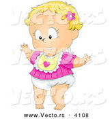Vector of a Cartoon Baby Girl Taking Her First Steps by BNP Design Studio