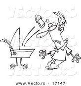 Vector of a Cartoon Baby Throwing a Bottle at Its Father - Coloring Page Outline by Toonaday