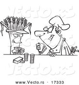 Vector of a Cartoon Baker Playing Poker with Wheat - Coloring Page Outline by Toonaday