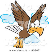 Vector of a Cartoon Bald Eagle Flying with Clouds by Toonaday