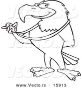 Vector of a Cartoon Bald Eagle Holding a Medal - Outlined Coloring Page Drawing by Ron Leishman