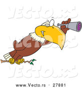 Vector of a Cartoon Bald Eagle Using a Telescope by Ron Leishman