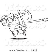 Vector of a Cartoon Baseball Boy Hitting a Home Run - Outlined Coloring Page by Ron Leishman