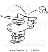 Vector of a Cartoon Baseball Hitting a Boy on the Head - Outlined Coloring Page by Toonaday