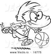 Vector of a Cartoon Basketball Boy Dribbling - Coloring Page Outline by Toonaday
