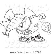 Vector of a Cartoon Basketball Elephant - Coloring Page Outline by Toonaday