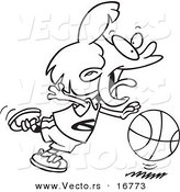 Vector of a Cartoon Basketball Girl Dribbling - Coloring Page Outline by Toonaday