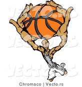 Vector of a Cartoon Basketball Player Slam Dunk by Chromaco