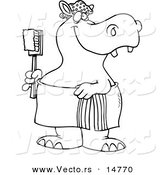 Vector of a Cartoon Bath Time Hippo in a Towel, Holding a Scrub Brush - Coloring Page Outline by Toonaday