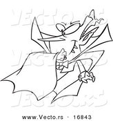 Vector of a Cartoon Batty Vampire - Coloring Page Outline by Toonaday