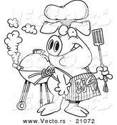 Vector of a Cartoon Bbq Pig Wearing a Pig out Apron - Coloring Page Outline by Toonaday