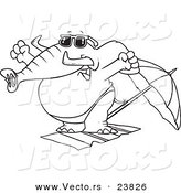 Vector of a Cartoon Beach Elephant Stretching - Coloring Page Outline by Ron Leishman