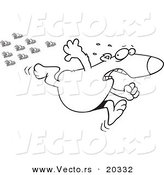 Vector of a Cartoon Bear Fleeing from Bees - Coloring Page Outline by Toonaday