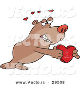 Vector of a Cartoon Bear Holding out a Be Mine Love Heart by Ron Leishman