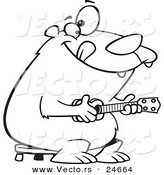 Vector of a Cartoon Bear Playing a Ukelele - Outlined Coloring Page by Ron Leishman