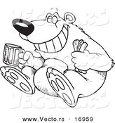 Vector of a Cartoon Bear Sitting with a Hot Dog and Beer - Coloring Page Outline by Toonaday