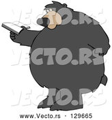 Vector of a Cartoon Bear Standing and Rubbing His Back While Reading a Book by Djart